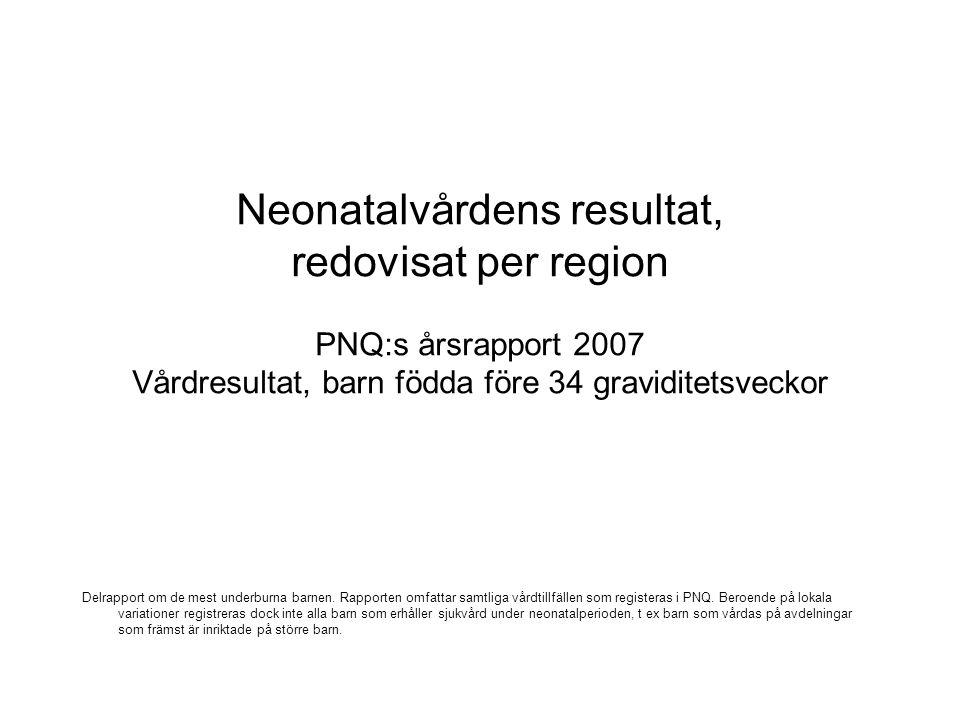 Neonatalvårdens resultat, redovisat per region PNQ:s årsrapport 2007 Vårdresultat, barn födda före 34 graviditetsveckor