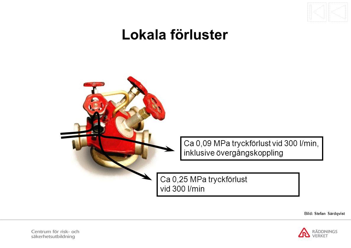 Lokala förluster Ca 0,25 MPa tryckförlust vid 300 l/min. Ca 0,09 MPa tryckförlust vid 300 l/min, inklusive övergångskoppling.