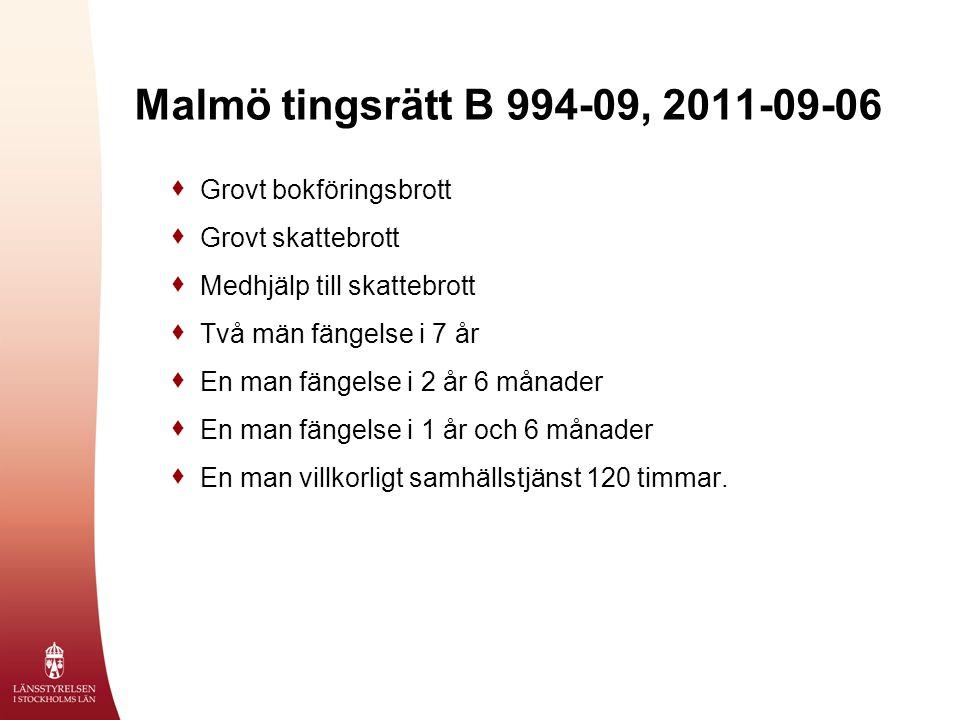 Malmö tingsrätt B 994-09, 2011-09-06 Grovt bokföringsbrott