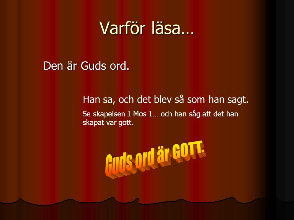 Varför läsa… Guds ord är GOTT. Den är Guds ord.