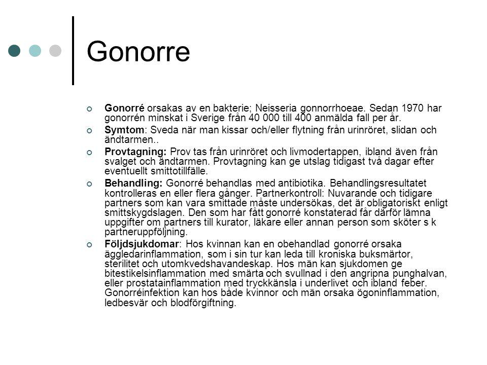 Gonorre Gonorré orsakas av en bakterie; Neisseria gonnorrhoeae. Sedan 1970 har gonorrén minskat i Sverige från 40 000 till 400 anmälda fall per år.