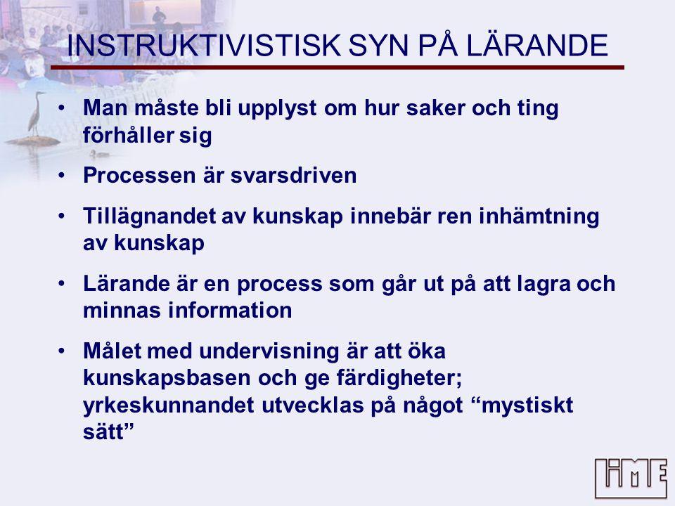 INSTRUKTIVISTISK SYN PÅ LÄRANDE