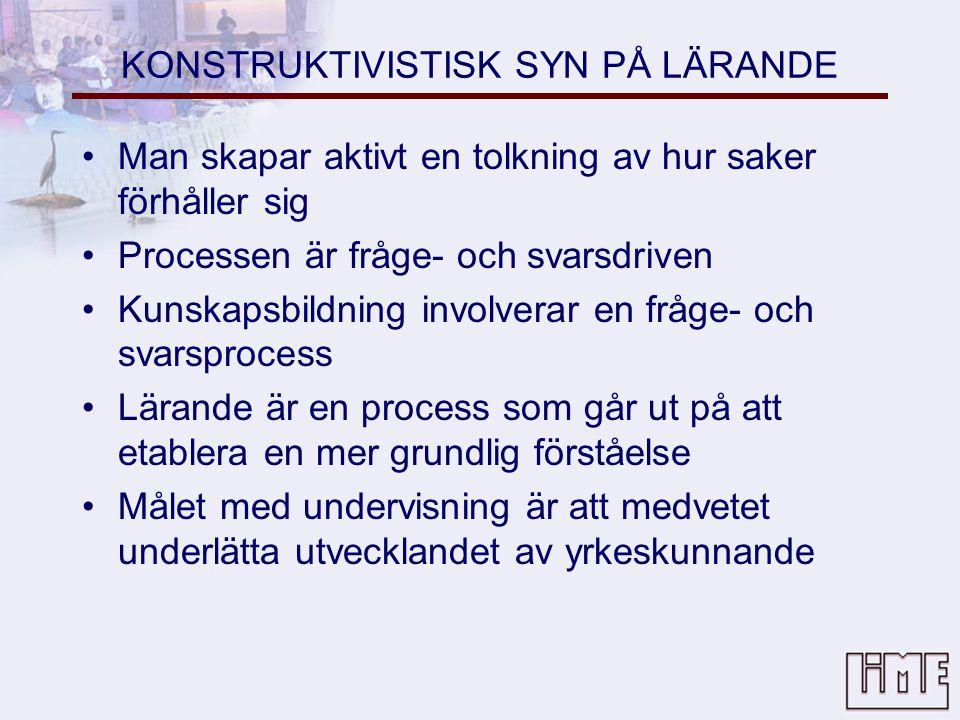 KONSTRUKTIVISTISK SYN PÅ LÄRANDE