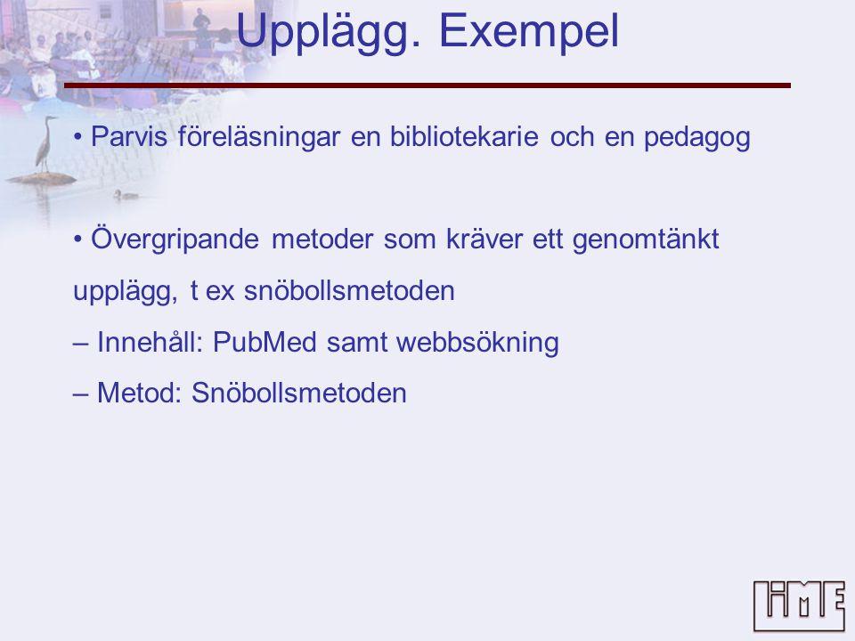 Upplägg. Exempel • Parvis föreläsningar en bibliotekarie och en pedagog. • Övergripande metoder som kräver ett genomtänkt.