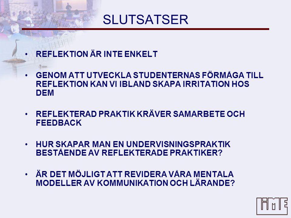 SLUTSATSER REFLEKTION ÄR INTE ENKELT