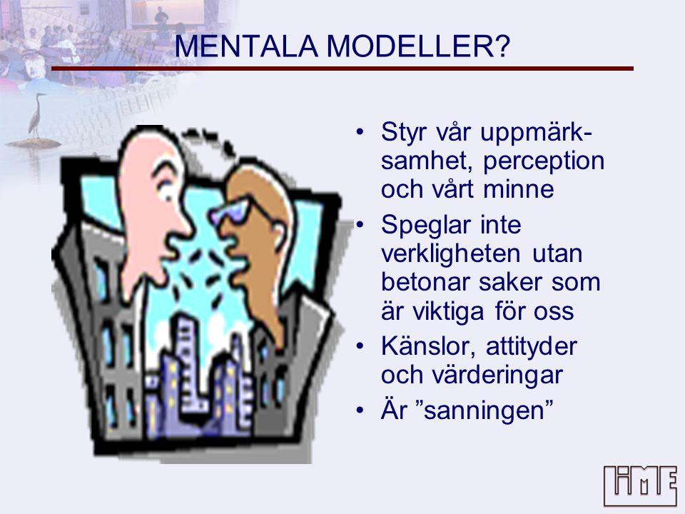 MENTALA MODELLER Styr vår uppmärk-samhet, perception och vårt minne