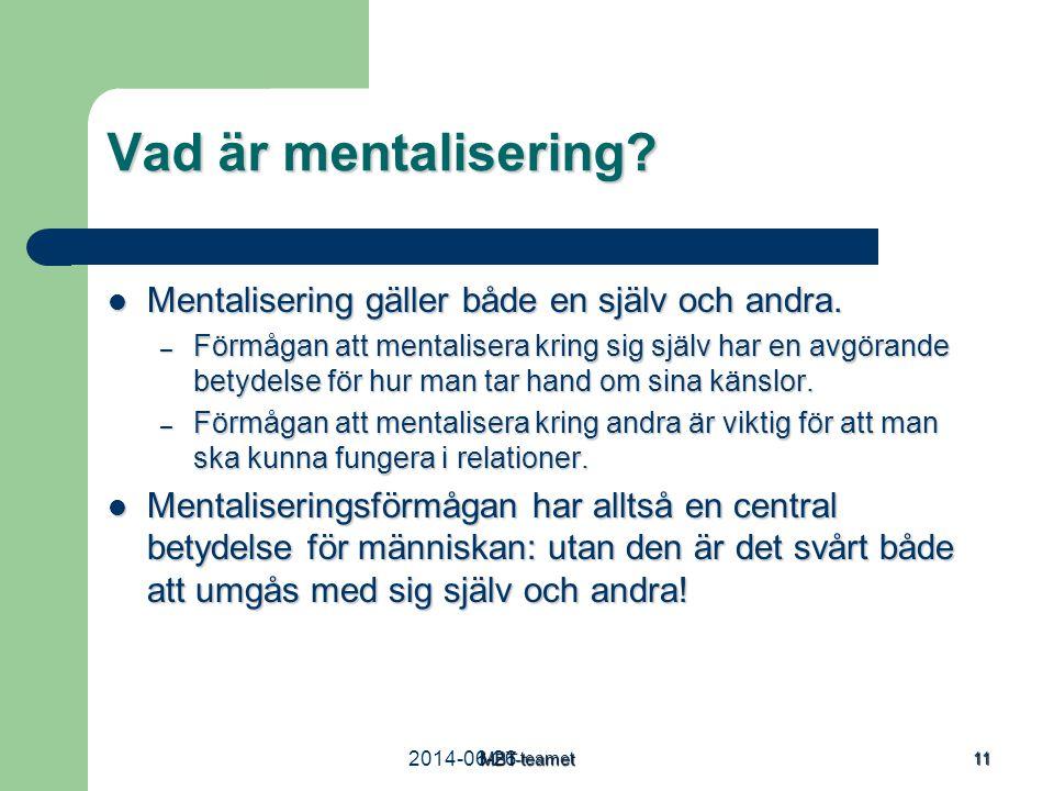 Vad är mentalisering Mentalisering gäller både en själv och andra.