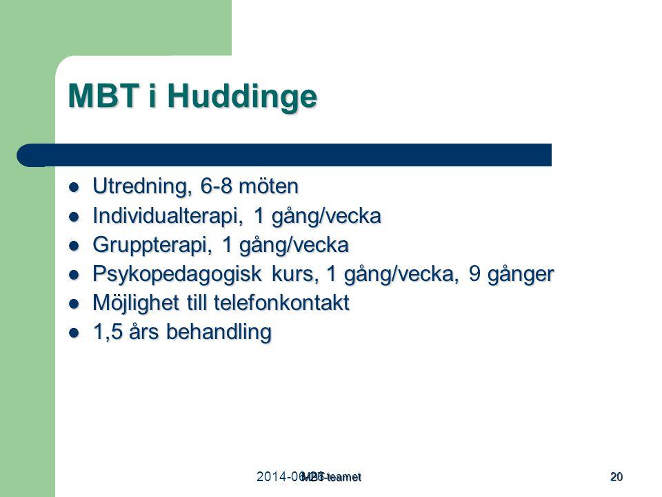 MBT i Huddinge Utredning, 6-8 möten Individualterapi, 1 gång/vecka