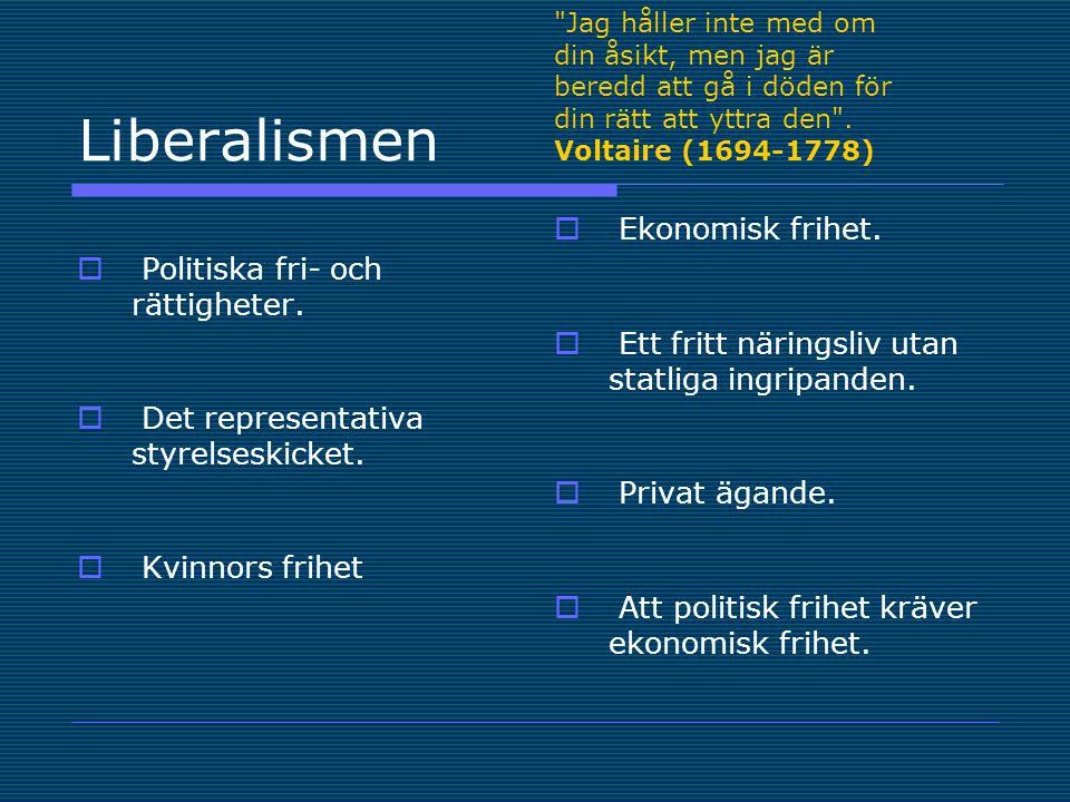 Liberalismen Ekonomisk frihet. Politiska fri- och rättigheter.