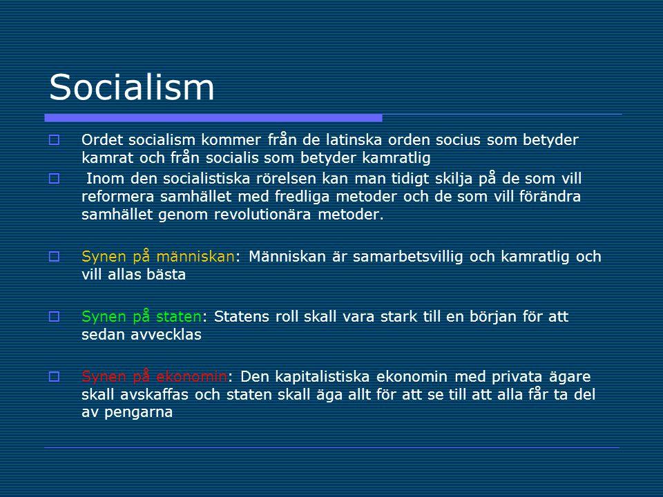 Socialism Ordet socialism kommer från de latinska orden socius som betyder kamrat och från socialis som betyder kamratlig.