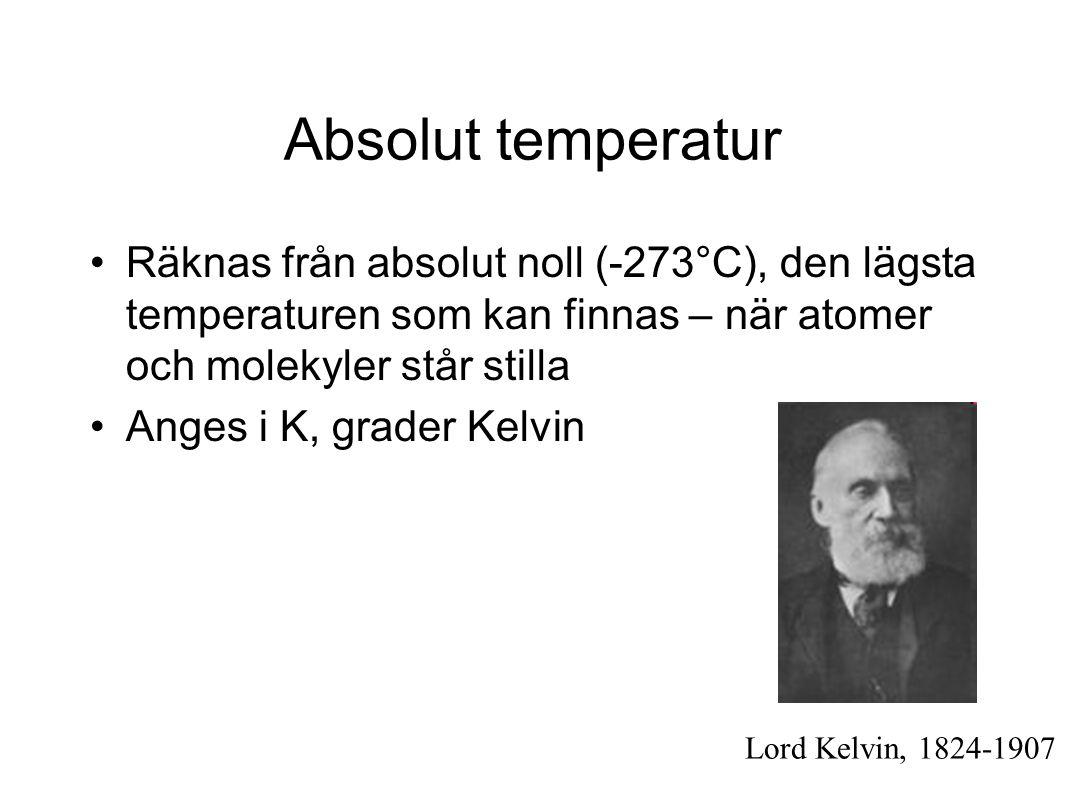 Absolut temperatur Räknas från absolut noll (-273°C), den lägsta temperaturen som kan finnas – när atomer och molekyler står stilla.