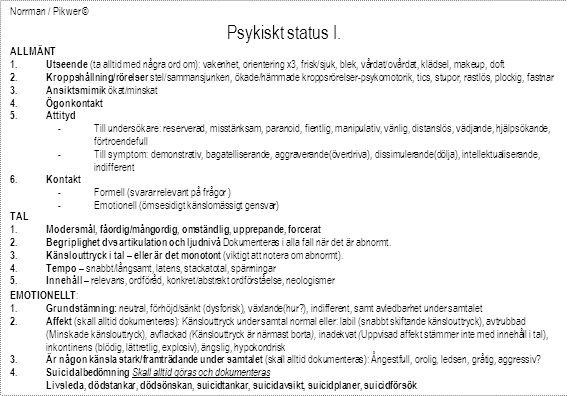 Psykiskt status I. Norrman / Pikwer © ALLMÄNT