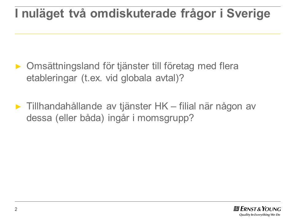 I nuläget två omdiskuterade frågor i Sverige