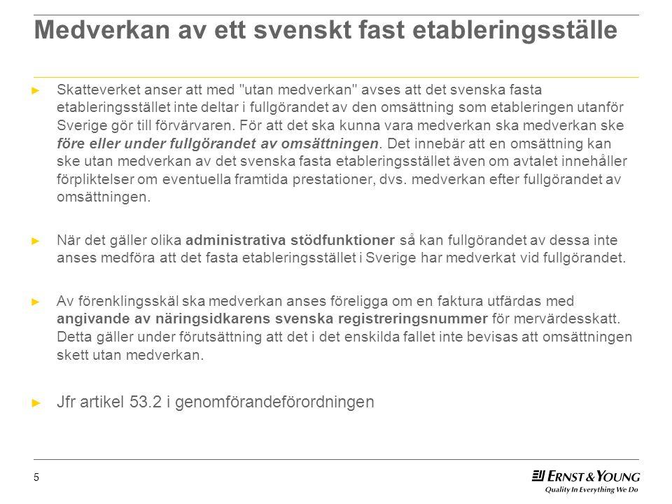 Medverkan av ett svenskt fast etableringsställe