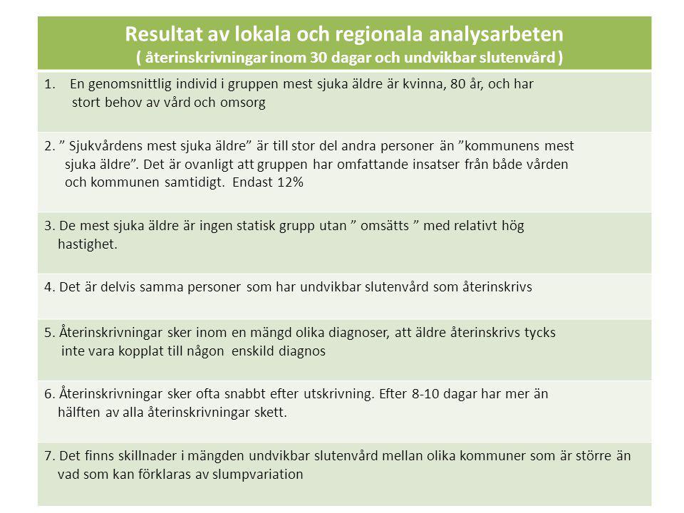 Resultat av lokala och regionala analysarbeten