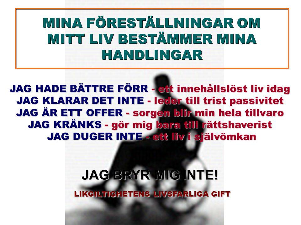 MINA FÖRESTÄLLNINGAR OM MITT LIV BESTÄMMER MINA HANDLINGAR