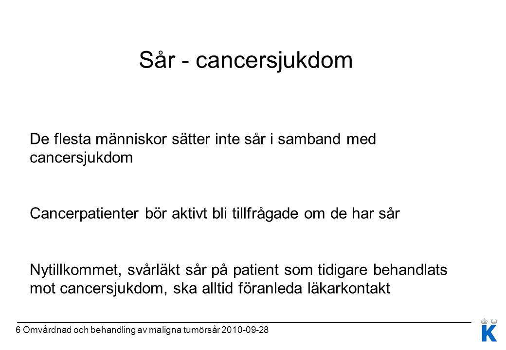 Sår - cancersjukdom De flesta människor sätter inte sår i samband med cancersjukdom. Cancerpatienter bör aktivt bli tillfrågade om de har sår.