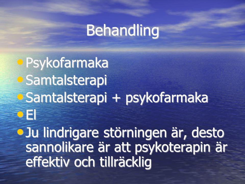 Behandling Psykofarmaka Samtalsterapi Samtalsterapi + psykofarmaka El