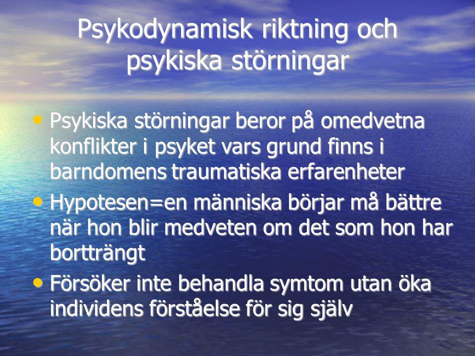 Psykodynamisk riktning och psykiska störningar
