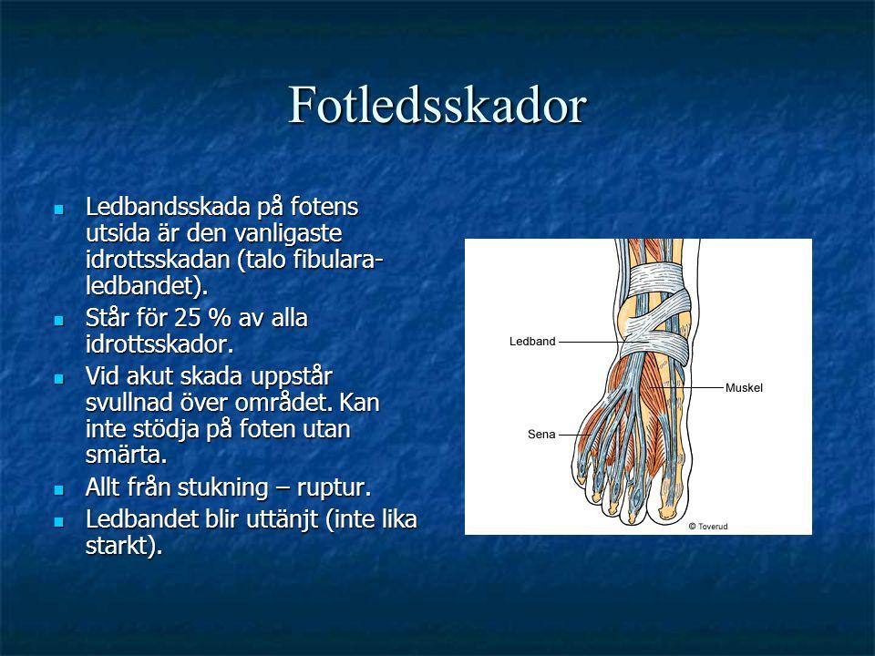 Fotledsskador Ledbandsskada på fotens utsida är den vanligaste idrottsskadan (talo fibulara- ledbandet).