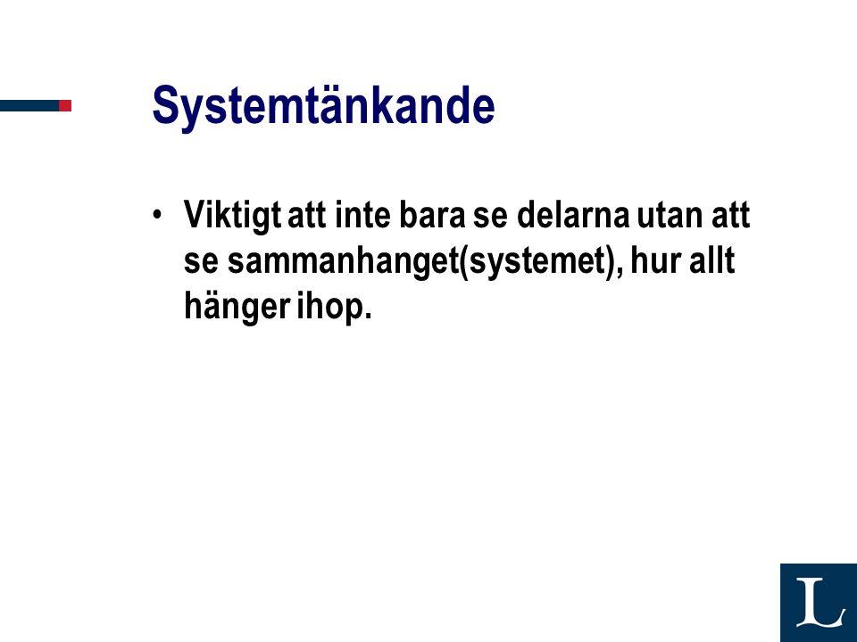 Systemtänkande Viktigt att inte bara se delarna utan att se sammanhanget(systemet), hur allt hänger ihop.