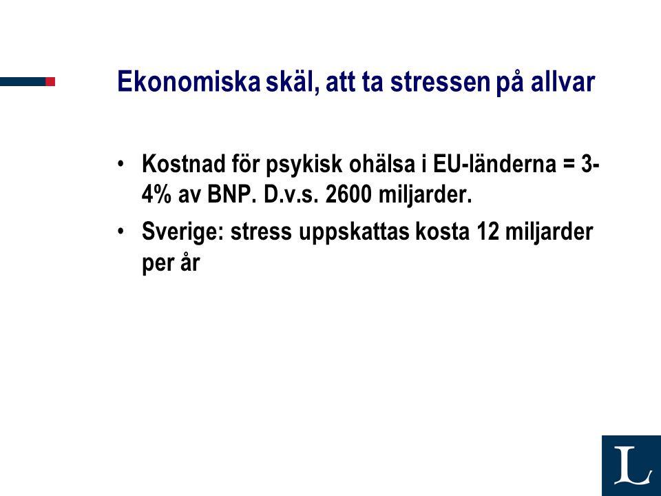 Ekonomiska skäl, att ta stressen på allvar
