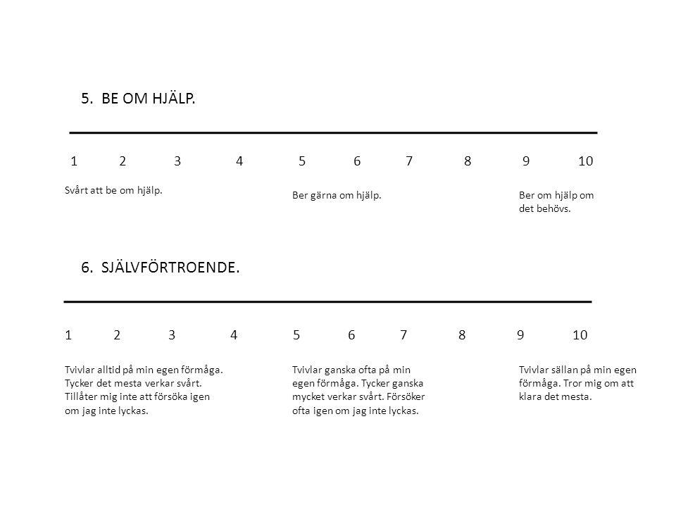 5. BE OM HJÄLP. 6. SJÄLVFÖRTROENDE. 1 2 3 4 5 6 7 8 9 10