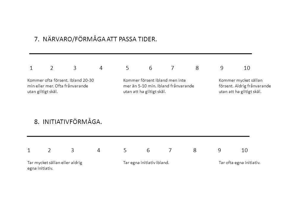 7. NÄRVARO/FÖRMÅGA ATT PASSA TIDER.