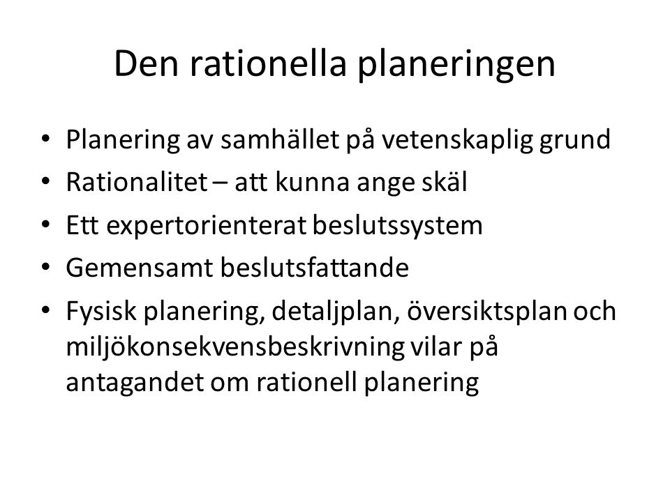 Den rationella planeringen