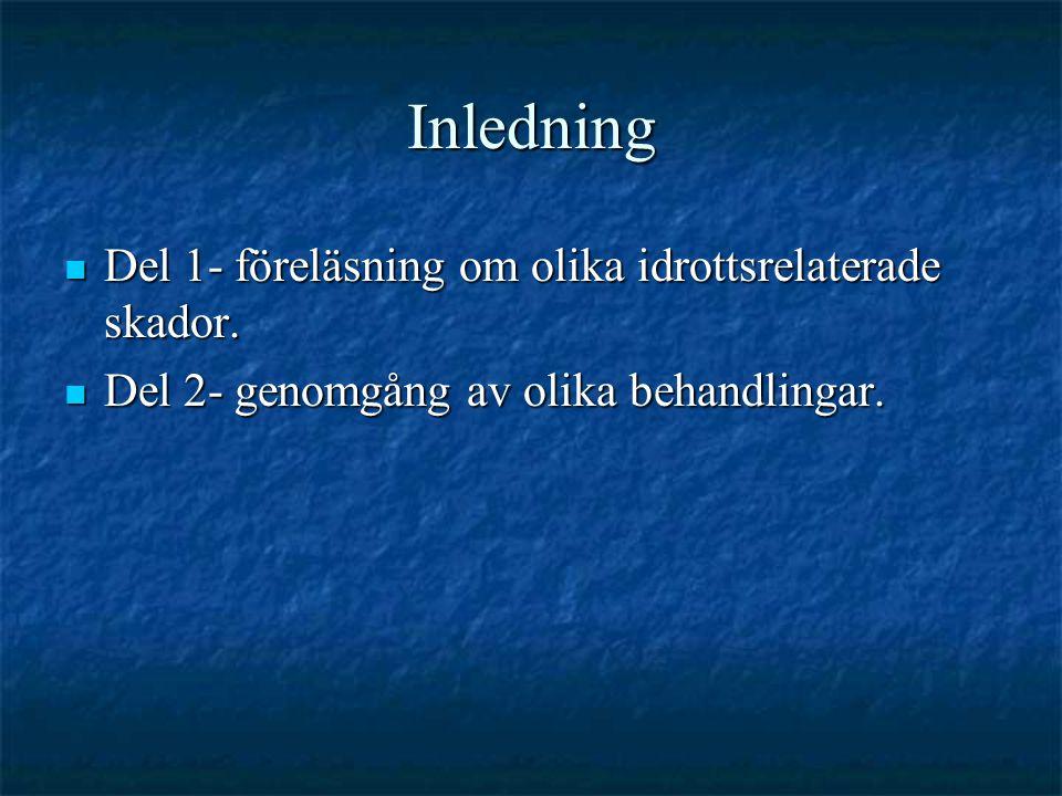 Inledning Del 1- föreläsning om olika idrottsrelaterade skador.