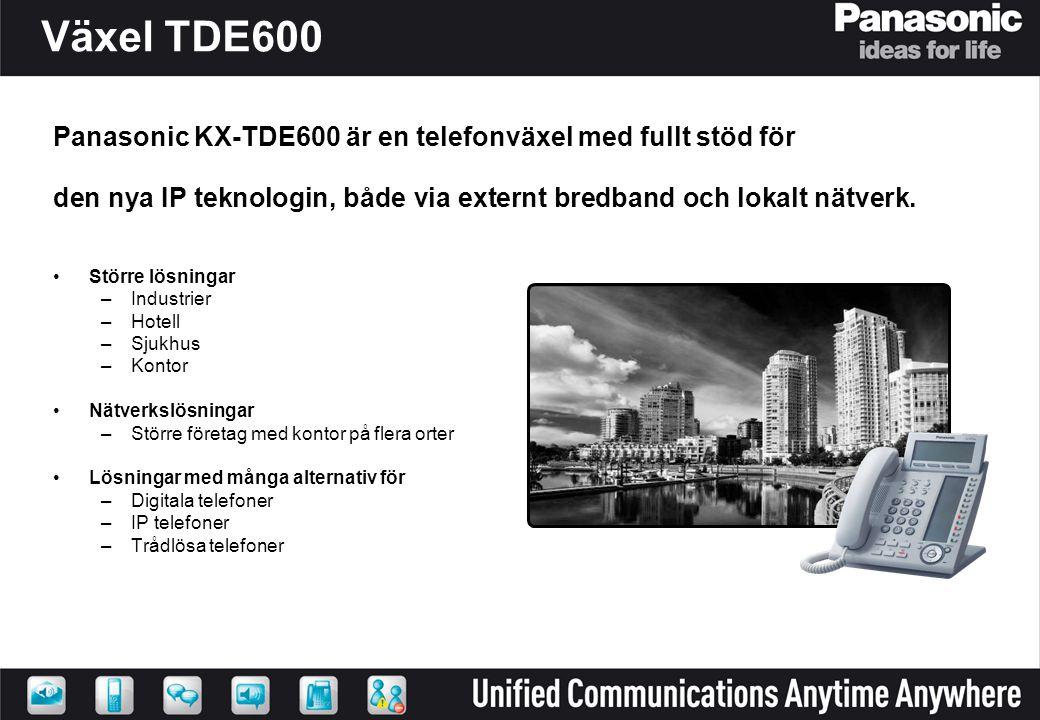 Växel TDE600 Panasonic KX-TDE600 är en telefonväxel med fullt stöd för