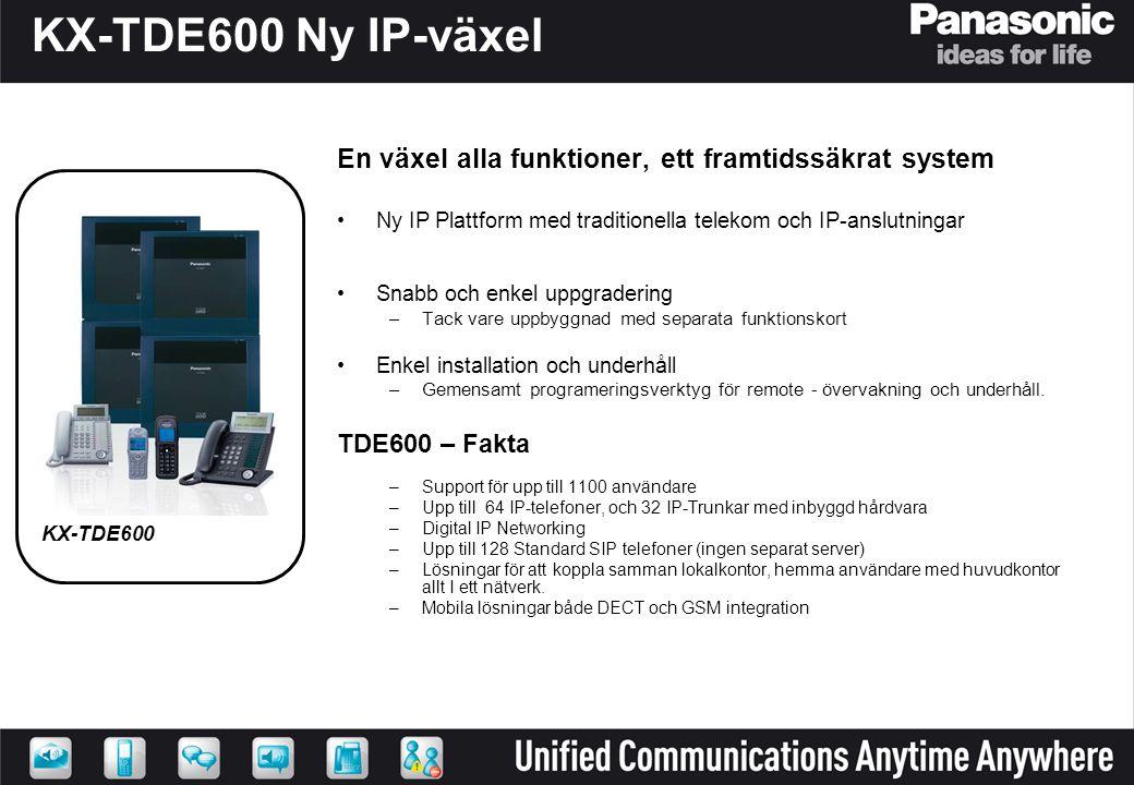 KX-TDE600 Ny IP-växel En växel alla funktioner, ett framtidssäkrat system. Ny IP Plattform med traditionella telekom och IP-anslutningar.