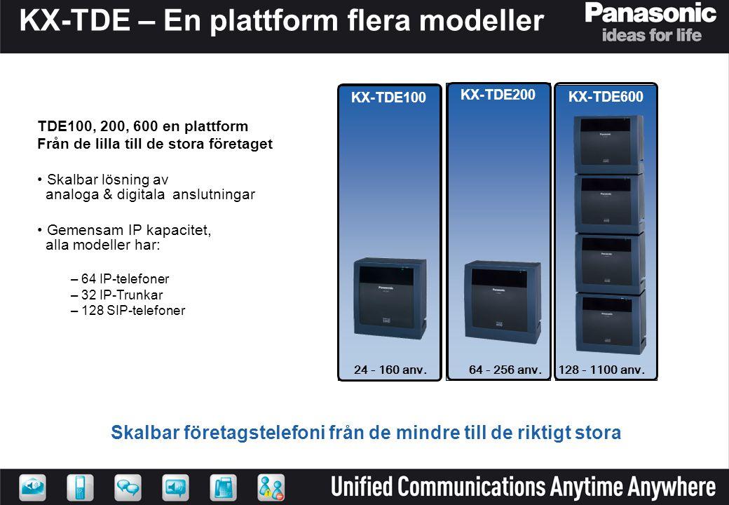 KX-TDE – En plattform flera modeller