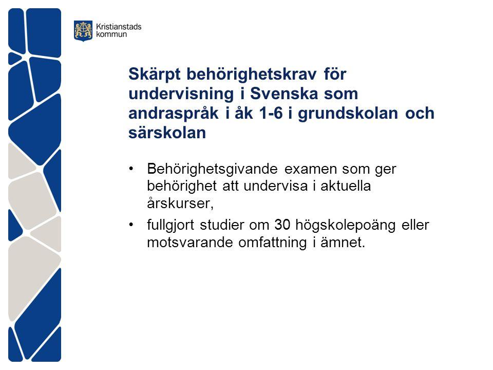 Skärpt behörighetskrav för undervisning i Svenska som andraspråk i åk 1-6 i grundskolan och särskolan