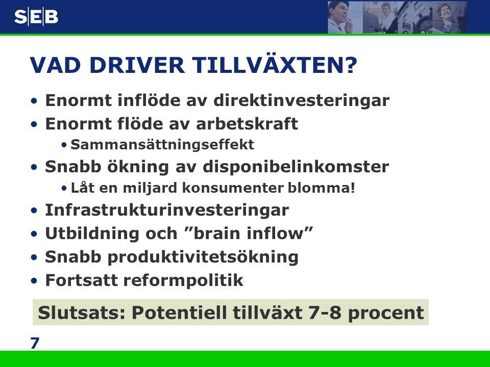 VAD DRIVER TILLVÄXTEN Slutsats: Potentiell tillväxt 7-8 procent