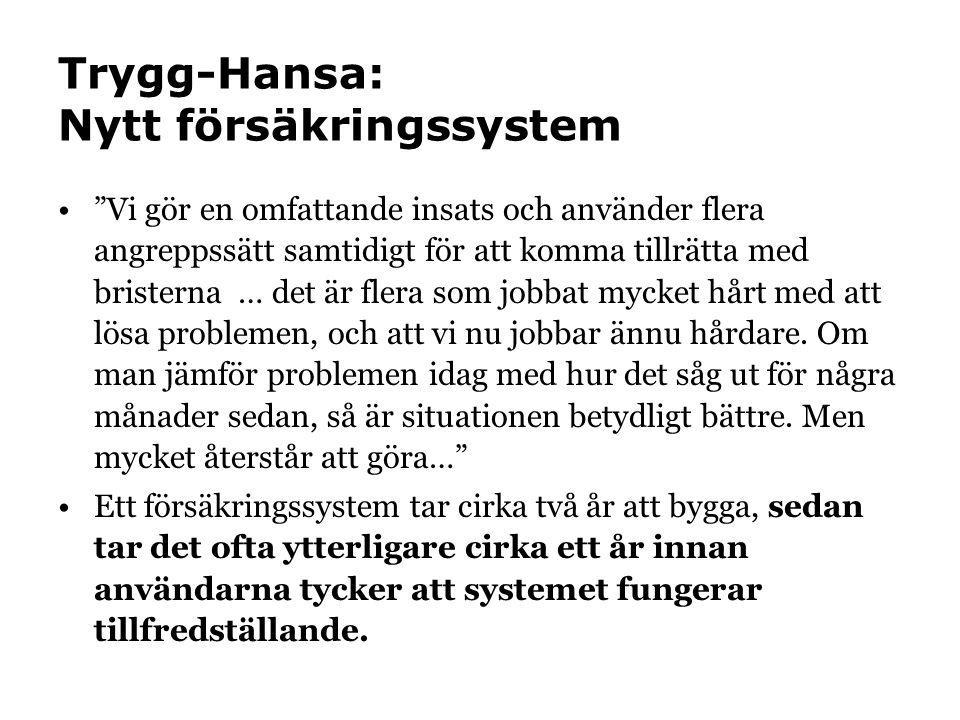 Trygg-Hansa: Nytt försäkringssystem