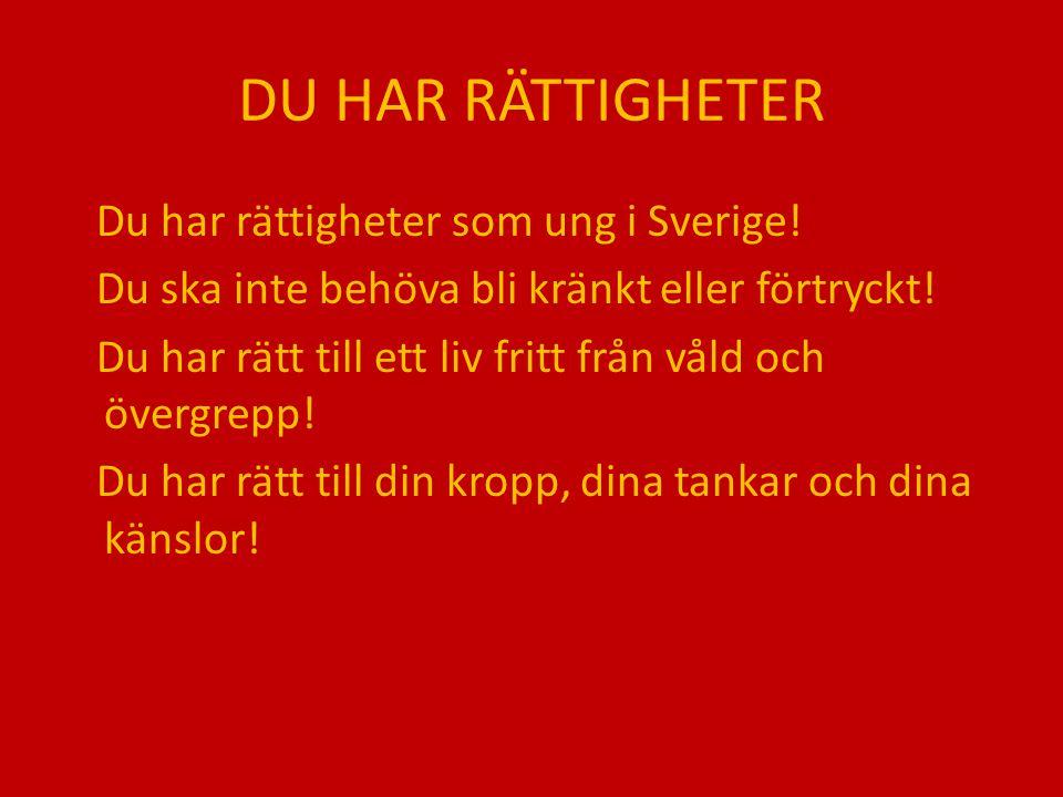DU HAR RÄTTIGHETER Du har rättigheter som ung i Sverige!