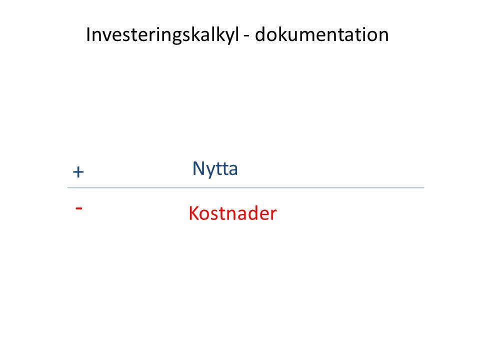 Investeringskalkyl - dokumentation