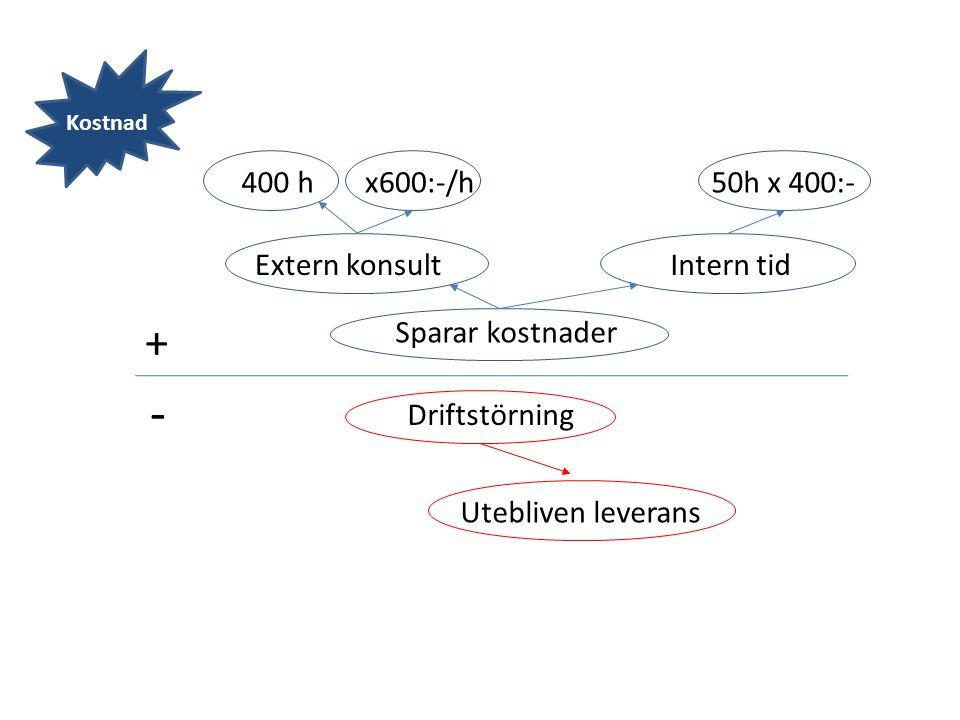 - + 400 h x600:-/h 50h x 400:- Extern konsult Intern tid