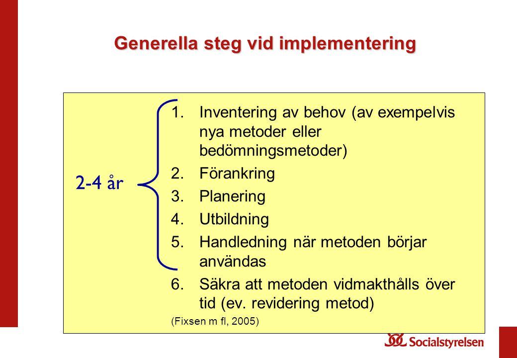 Generella steg vid implementering
