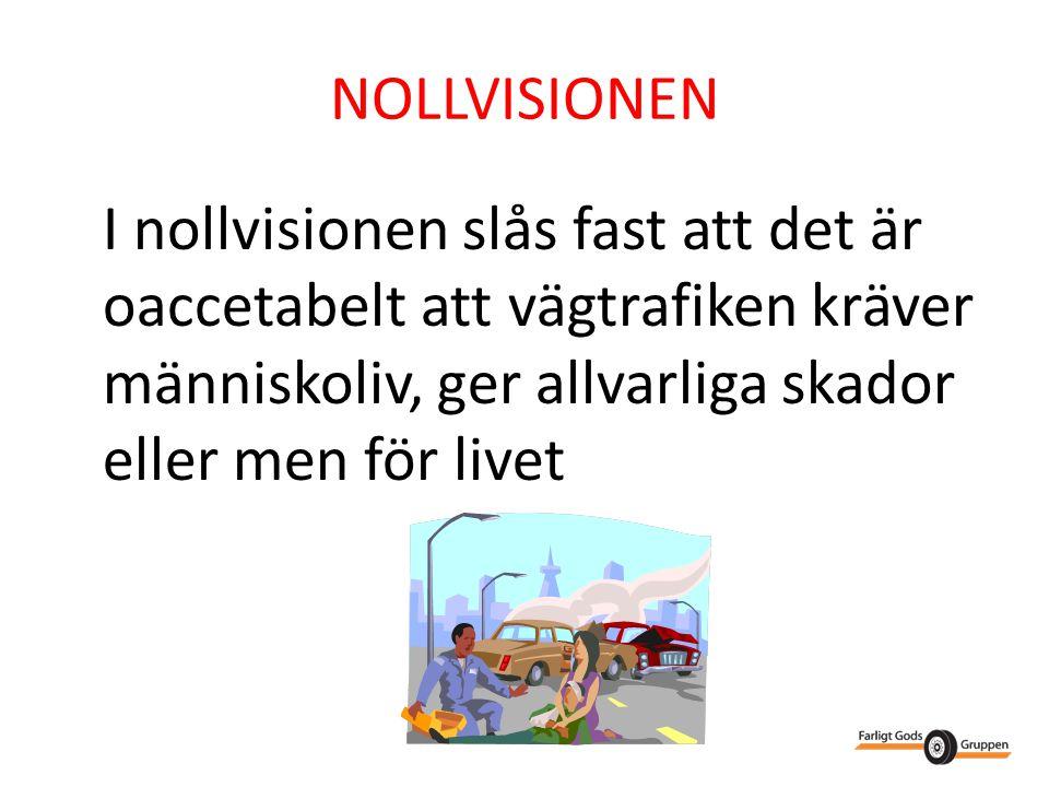 NOLLVISIONEN I nollvisionen slås fast att det är oaccetabelt att vägtrafiken kräver människoliv, ger allvarliga skador eller men för livet.
