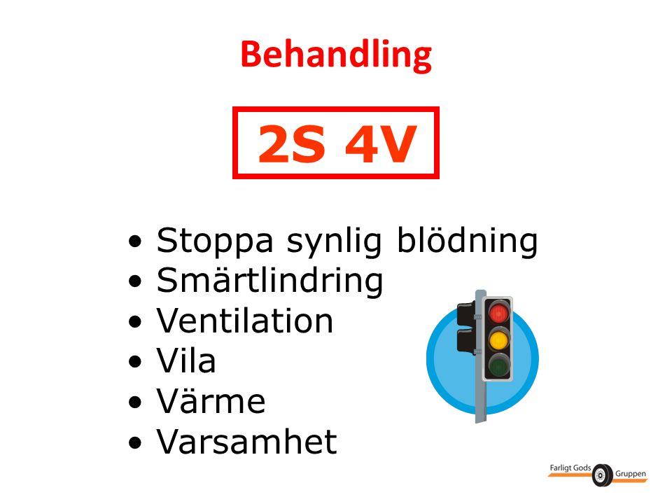 2S 4V Behandling Stoppa synlig blödning Smärtlindring Ventilation Vila