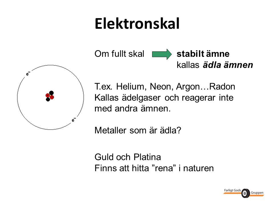 Elektronskal Om fullt skal stabilt ämne kallas ädla ämnen