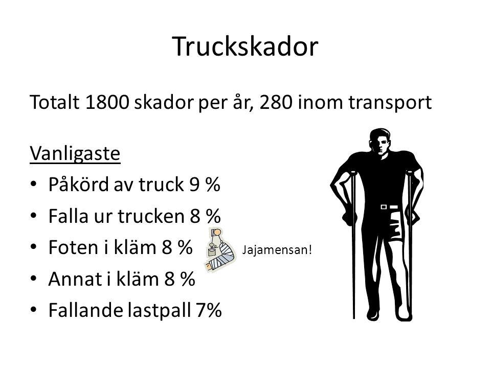 Truckskador Totalt 1800 skador per år, 280 inom transport Vanligaste
