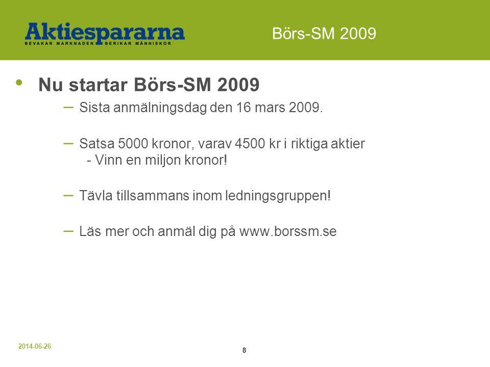 Nu startar Börs-SM 2009 Börs-SM 2009