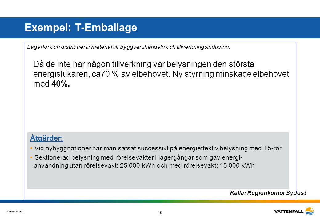 Exempel: T-Emballage Åtgärder:
