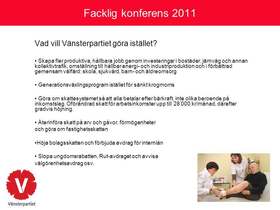 Facklig konferens 2011 Vad vill Vänsterpartiet göra istället