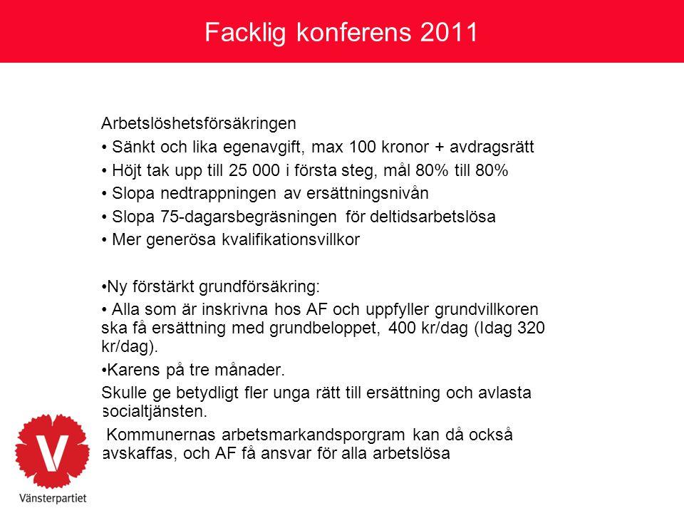 Facklig konferens 2011 Arbetslöshetsförsäkringen
