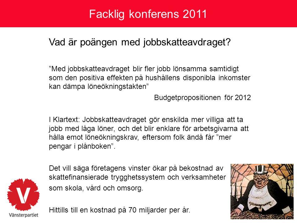 Facklig konferens 2011 Vad är poängen med jobbskatteavdraget