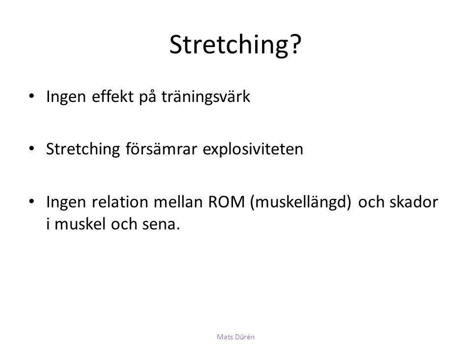 Stretching Ingen effekt på träningsvärk